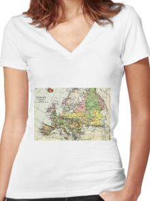 Old commercial map Europe 1865 - 1907 Women's Fitted V-Neck T-Shirt