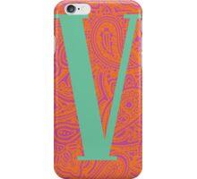 Paisley Print Letter 'V' iPhone Case/Skin