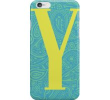 Paisley Print Letter 'Y' iPhone Case/Skin