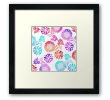 Watercolor Gradient Flowers in Pink Purple Blue Framed Print