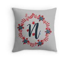 Scandinavian Monogram N Throw Pillow