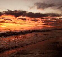 Sunset stroll along the beach by Trudi Skinn