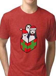Christmas Gift Penguins Tri-blend T-Shirt