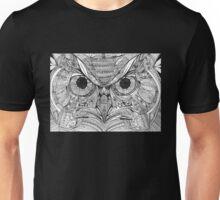 Zentangle Owl - White on Black Unisex T-Shirt