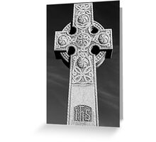 Celtic Stone Cross At Sunset in Black and White Greeting Card