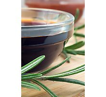 Soy sauce in a glass and a sprig of rosemary Photographic Print