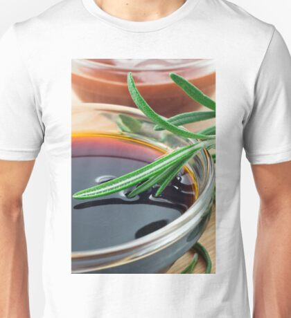 Transparent cup with soy sauce and rosemary leaves close-up Unisex T-Shirt