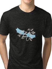 Cherry Tree Dragon - White and Blue Tri-blend T-Shirt