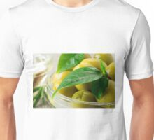 Macro view of the olives with green leaves close-up Unisex T-Shirt