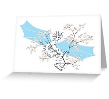 Cherry Tree Dragon - White and Blue Greeting Card