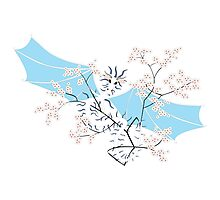 Cherry Tree Dragon - White and Blue Photographic Print