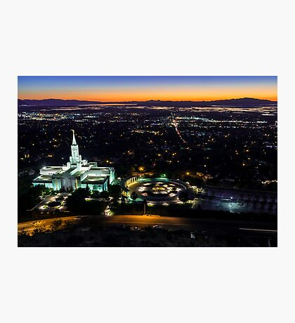 Bountiful Lds Mormon Temple Sunset Photographic Print