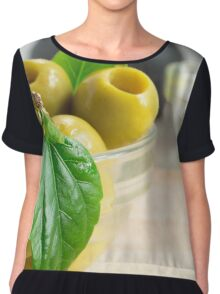 Green pickled pitted olives closeup Chiffon Top