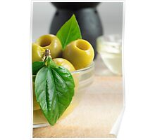 Green pickled pitted olives closeup Poster