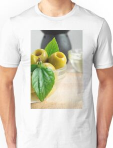 Green pickled pitted olives closeup Unisex T-Shirt