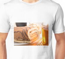 Sweet cake with chocolate cream and cup of hot tea Unisex T-Shirt