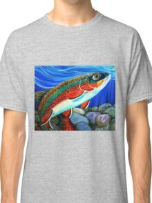 Brook Trout Fish Fly Fishing River Rock Brookie Sports  Classic T-Shirt
