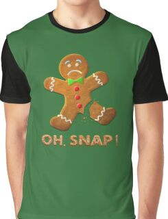 Oh Snap Gingerbread Man Funny Christmas Graphic T-Shirt