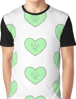 Kill Me - Green Patterned Graphic T-Shirt