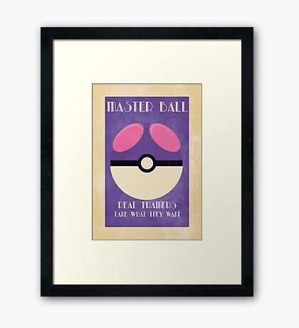 Retro Pokemon Poster - Masterball Framed Print