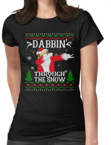 Dabbing Through The Snow Funny Santa Claus Womens Fitted T-Shirt