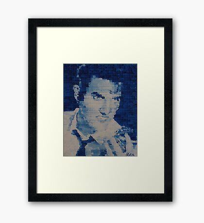 Pixelated Blue Elvis Painting Framed Print
