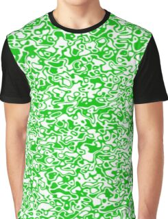 Green and White Oily Pattern Graphic T-Shirt