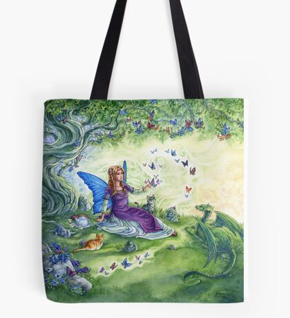 Ericka's Fairy Friends - Fairy, cat and dragon Tote Bag