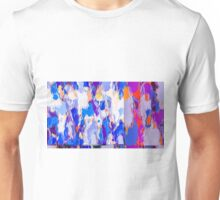 blue purple pink orange and red painting abstract background Unisex T-Shirt