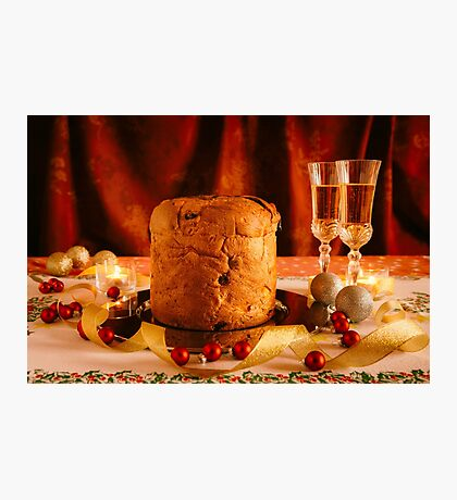 Christmas cake and sparkling wine Photographic Print