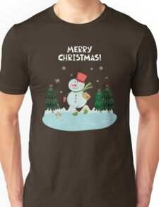 Cute Fun Snowman  and Merry Christmas Lettering Unisex T-Shirt