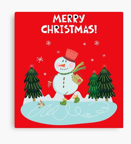 Cute Fun Snowman  and Merry Christmas Lettering Canvas Print