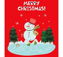 Cute Fun Snowman  and Merry Christmas Lettering Photographic Print