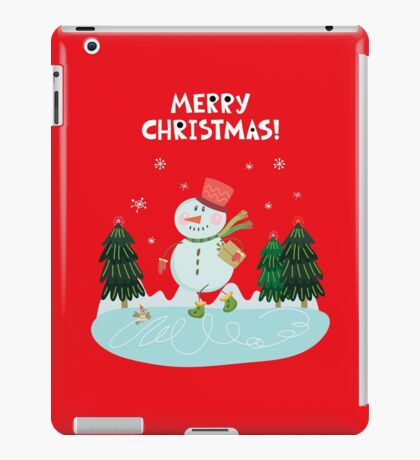 Cute Fun Snowman  and Merry Christmas Lettering iPad Case/Skin