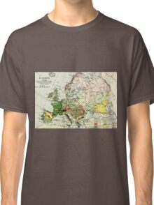 Old commercial map of Europe 1865 - 1907 Classic T-Shirt