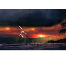 sunset beach storm lightning ocean water trees mountain landscape seascape Photographic Print