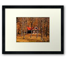 Secluded Red Roof Cottage in the Woods - Fall Autumn Time w/ Orange Leaf Trees Framed Print