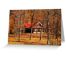 Secluded Red Roof Cottage in the Woods - Fall Autumn Time w/ Orange Leaf Trees Greeting Card