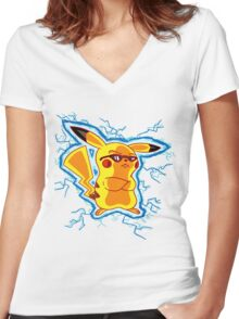 Cool Pikachu Women's Fitted V-Neck T-Shirt