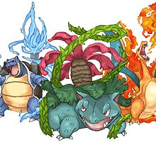 Pokemon Gen I Starters by SansTache