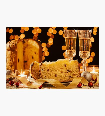 Sliced italian panettone and sparkling wine Photographic Print