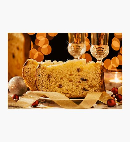 Closeup of sliced italian panettone and sparkling wine Photographic Print