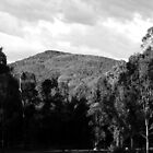 Clouds, Mountains, Trees, Shadows - Black n White by Mark Batten-O'Donohoe
