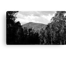 Clouds, Mountains, Trees, Shadows - Black n White Canvas Print