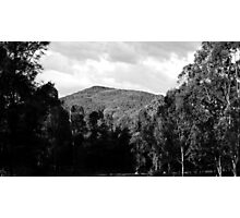 Clouds, Mountains, Trees, Shadows - Black n White Photographic Print