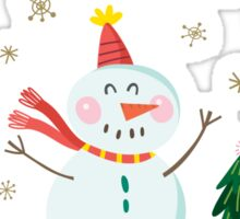 Cute Fun Snowman Merry Christmas  Sticker