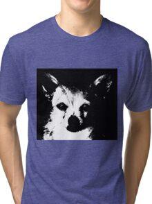 Black and White Chihuahua Tri-blend T-Shirt