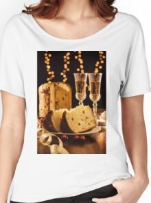 Sliced italian panettone, sparkling wine and decorations Women's Relaxed Fit T-Shirt