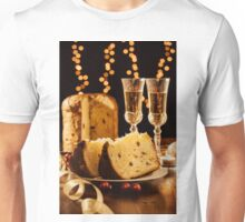 Sliced italian panettone, sparkling wine and decorations Unisex T-Shirt
