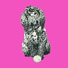 Cockapoo with a ball (Pink) by LearsInteriors